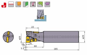 三菱マテリアル ハイブリッドミル AQXR204SA20L