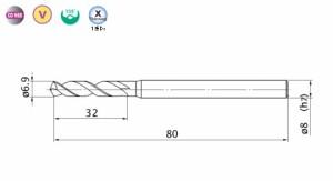 三菱マテリアル バイオレット高精度ドリルステンレス用(S)6.9mm VAPDSSUSD0690