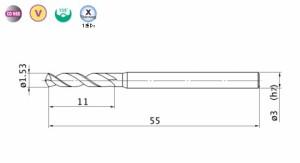 三菱マテリアル バイオレット高精度ドリルステンレス用(S)1.53mm VAPDSSUSD0153