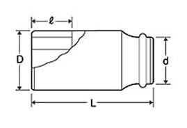 TOP 超ロングインパクトソケット薄肉タイプ(差込角12.7mm)24mm PT-424SL