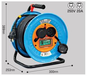日動 防雨・防塵型三相200V動力用電工ドラム E付30m EKタイプ DNW-EK330F-20A