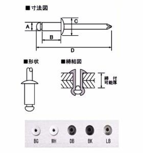 新潟精機 カラーブラインドリベット こげ茶 締付可能厚0.5〜3.2mm 20本入 SK-320DB