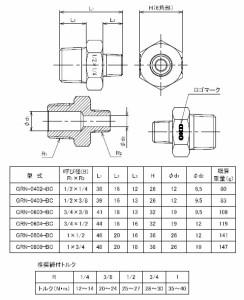 """フローバル 青銅製ねじ込継手 異径ニップル ネジ(R1×R2)1""""×1/2 GRN-0804-BC"""