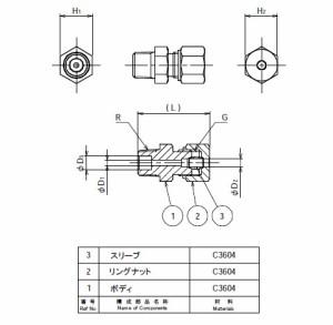 フローバル 銅管用リングジョイント 片口ストレート ネジ(R)1/8 適用管外径10 RUO-0110
