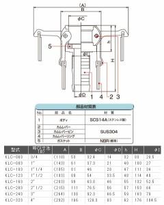 """フローバル レバーカップ ステンレス製 KLC 呼び寸法(B)2""""1/2 KLC-203"""