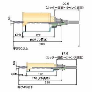 ミヤナガ 木ポジットコアドリル(ポリクリック)カッター 70mm PCC70C
