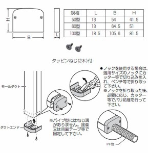 未来工業 屋外・屋内兼用 モールダクト付属品 ダクトエンド 100型 ベージュ(10個価格) MDE-100J