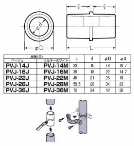 未来工業 J管用パイプジョイナー 適合管VE28 ベージュ 10個価格 PVJ-28J