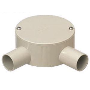 未来工業 露出用丸形ボックス(平蓋・2方出)適合管VE14 グレー PVM14-2L 20個価格 PVM14-2L