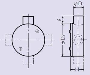 未来工業 露出用丸形ボックス(カブセ蓋・3方出)適合管VE16 グレー 1個価格 PVM16-3K