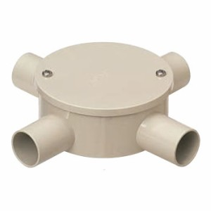未来工業 露出用丸形ボックス(カブセ蓋)防水タイプ 4方出 ベージュ 適合管VE16(20個価格) PVM16-4KPJ
