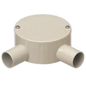 未来工業 露出用丸形ボックス(平蓋・2方出)適合管VE28 ベージュ PVM28-2LJ 1個価格 PVM28-2LJ