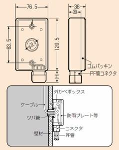 未来工業 外かべボックス(コネクタ付・Gタイプ)PF管14用 1個価格 SBR-B14FT