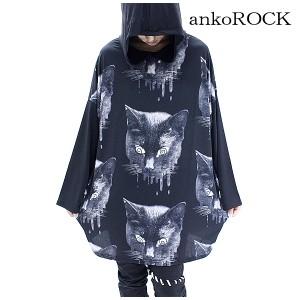 ankoROCK アンコロック パーカー メンズ パーカー レディース 長袖パーカー ビッグシルエット 黒 ブラック プリント 猫柄 ネコ ねこ