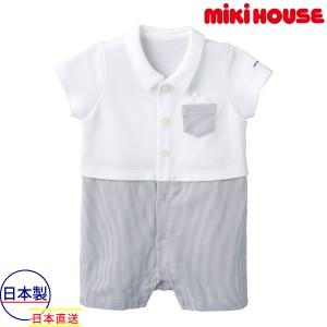7628aba75fd94 ミキハウス mikihouse ポケットチーフ付きサマーフォーマルショートオール(70cm・80cm)