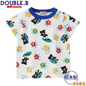 ミキハウス正規販売店/ミキハウス ダブルビー mikihouse SURFハイビスカス半袖Tシャツ(120cm・130cm)