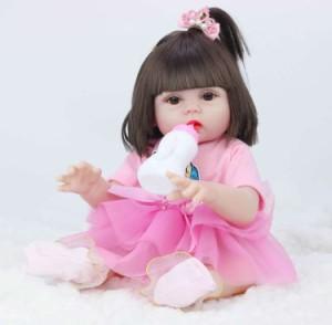 リボーンドール リアル 赤ちゃん人形 トドラードール ベビードール 45cm アクセサリ付 高級 かわいい 洋服セット 女の子 ba008