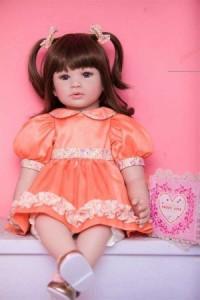 リボーンドール リアル 赤ちゃん人形 トドラードール ベビードール 二つ結び 55cm 高級 プリンセスドール かわいい 女の子 ba013