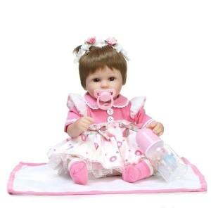 リボーンドール リアル 赤ちゃん人形 トドラードール ベビードール 42cm 高級 かわいい 衣装・おしゃぶり・哺乳瓶付き 二つ結び ba23