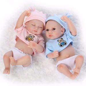 フルシリコン 入浴可 リボーンドール リアル 赤ちゃん人形 双子セット トドラードール ベビードール 28cm 高級 洋服付 か