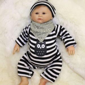 リボーンドール リアル 赤ちゃん人形 トドラードール ベビードール 55cm 高級 かわいい 衣装付き パジャマ 白黒  ba41