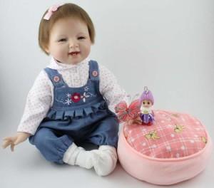 リボーンドール リアル 赤ちゃん人形 トドラードール ベビードール 55cm 高級 かわいい 衣装付き オーバーオール 女の子 ba42