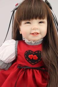リボーンドール リアル 赤ちゃん人形 トドラードール ベビードール 55cm 高級 かわいい 笑顔 ロングヘアー ドレス ba44