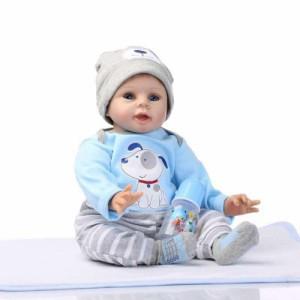 フルシリコン 入浴可 リボーンドール リアル 赤ちゃん人形 トドラードール ベビードール 55cm 洋服・哺乳瓶・おしゃぶり付 ba046