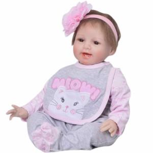 リボーンドール リアル 赤ちゃん人形 トドラードール ベビードール 55cm 高級 かわいい 衣装と哺乳瓶・おしゃぶり付き付 笑顔 ba57