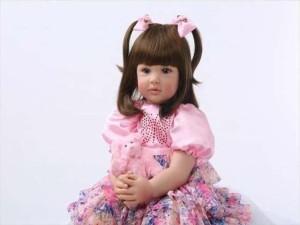 リボーンドール ピンク花柄ドレス プリンセスドール トドラー人形 赤ちゃん人形 ベビードール 綿&シリコン