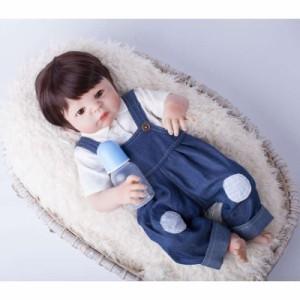 リボーンドールベイビー リアル赤ちゃん人形 フルシリコンビニール55cm 男の子 抱き人形 トドラードール 西洋人形 オーバーオール