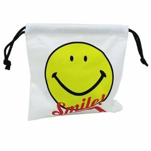 SMILEY スマイリーフェイス 巾着袋 きんちゃくポーチ ロゴ  キャラクターグッズ通販 【メール便可】