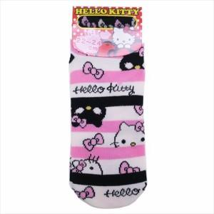 ハローキティ 女性用靴下 レディース ソックス キャットボーダー サンリオ キャラクターグッズ メール便可