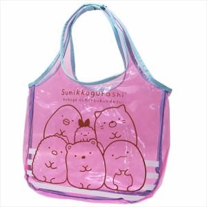 すみっコぐらし プールバッグ カラービニールクリアトート ピンク サンエックス キャラクターグッズ通販