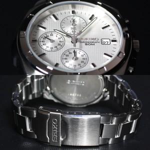 逆輸入 セイコー 腕時計 50M防水 薄型クオーツクロノグラフ ホワイト SND187