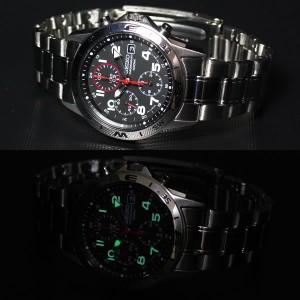 セイコー SEIKO逆輸入 腕時計 クロノグラフ ブラック 赤針 SND375 メンズ 腕時計