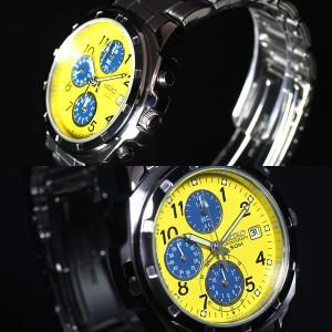 セイコー SEIKO逆輸入 メンズ 腕時計 50m防水 1/20クロノグラフ イエロー ブルー SND409
