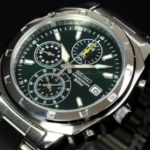 セイコー SEIKO 逆輸入 腕時計 50m防水 1/20クロノグラフ メタルグリーン SND411