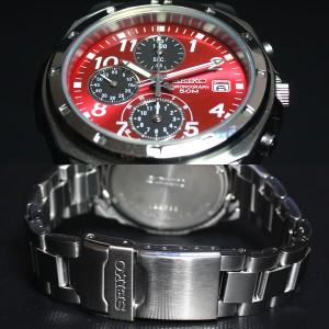 セイコー SEIKO逆輸入 腕時計 50M防水クロノグラフ メタリックレッド文字盤 SND495 メンズ 腕時計