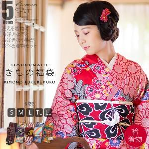 きもの福袋5点セット 袷着物+京袋帯+好きな小物3つ 洗える着物福袋 code03 [送料無料]