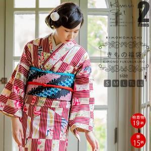 きもの福袋2点セット 袷着物+京袋帯 洗える着物セット code03 [送料無料]