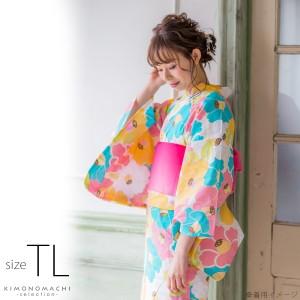 TLサイズ 浴衣単品「パステルカラー 椿」レディース浴衣 女性浴衣 お仕立て上がり浴衣 綿浴衣