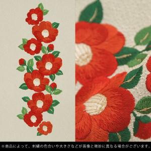 【あす着対応】 刺繍 半衿「白色 赤椿」半襟 刺繍半襟 振袖衿 成人式 振り袖 [送料無料]