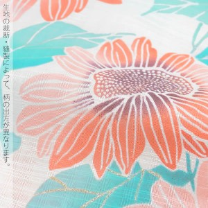 【あす着対応】 変わり織り 女性浴衣単品「オレンジ 向日葵」 フリーサイズ 綿浴衣 女性浴衣 bonheur saisons ボヌールセゾン