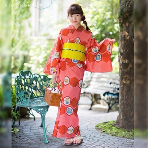 女性 浴衣「赤×コーラルピンク レトロイラスト」ポリエステル LLサイズ 女性浴衣 お仕立て上がり