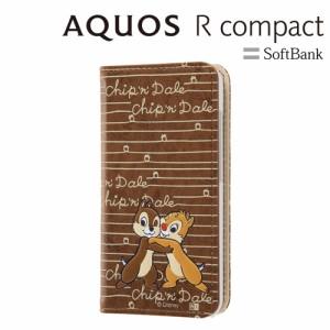 ☆ ディズニー AQUOS R compact 専用 手帳型ケース スタンディング カーシヴ チップ&デール RT-DAQRCOT/CD