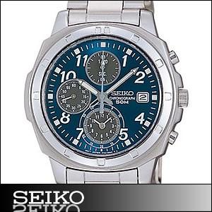 正規品 海外SEIKO 海外セイコー 腕時計 SND193P1 メンズ クロノグラフ シルバー/ブルー SND193P