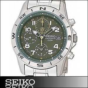 正規品 海外SEIKO 海外セイコー 腕時計 SND377P1 メンズ クロノグラフ シルバー/グリーン SND377P
