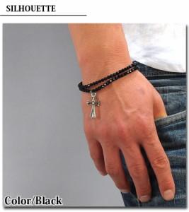 【q631】 / ブレスレット メンズ ブラックスピネル クロス 十字架 2連 天然石 パワーストーン スピネル 黒 ブラック 腕輪  石