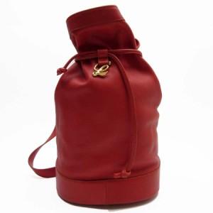 【定番人気】【中古】ロエベ ショルダーバッグ 巾着バッグ   レディース レッドxゴールド n8596